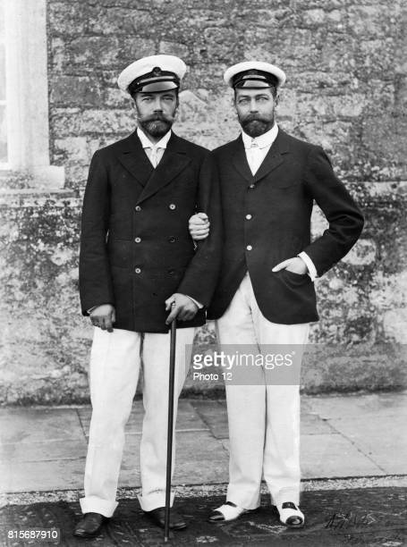 Nicholas II Emperor of Russia from 1894 with his cousin George V King of Great Britain from 1910 Both men were grandsons of Queen Victoria Photograph...