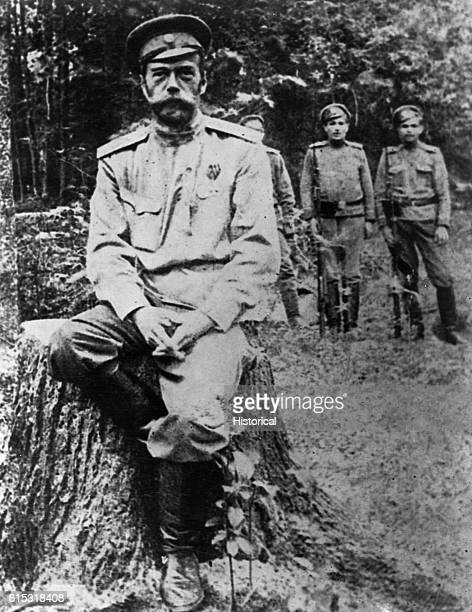 Nicholas II the former Czar of Russia in exile and guarded by Russian soldiers