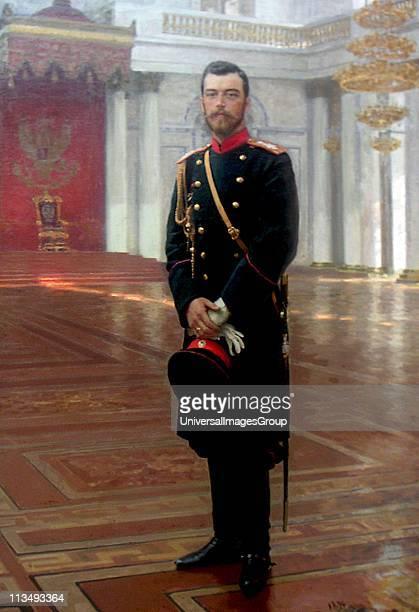 Nicholas II Tsar of Russia 1894-1917, 1896. Oil on canvas. Ilya Repin Russian artist. Full-length portrait of Nicholas II in military uniform,...