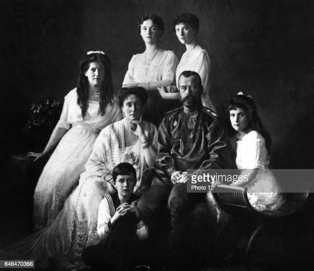 Nicholas II Tsar of Russia 18941917 with his wife and children including the Tsarevich Alexi who suffered from Haemophilia