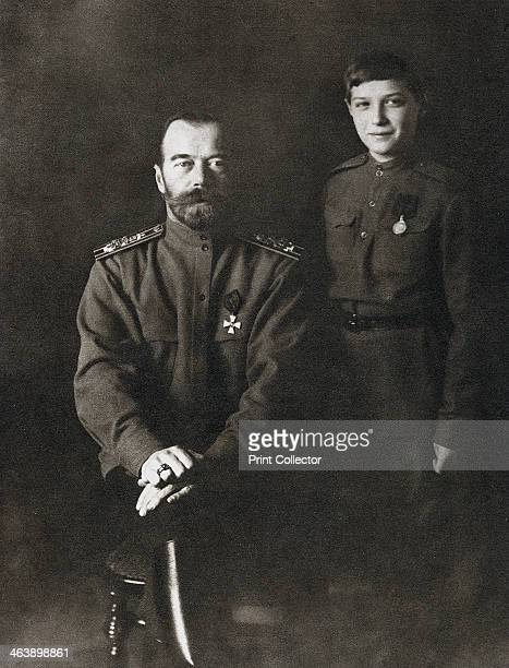 Nicholas II Tsar of Russia and his son Alexei in military uniform 1915 Nicholas II Emperor of Russia from 1894 and the Tsarevich Alexei who was a...
