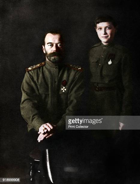 Nicholas II Tsar of Russia and his son Alexei in military uniform 1915 Nicholas II Emperor of Russia from 1894 and the Tsarevich Alexis who was a...