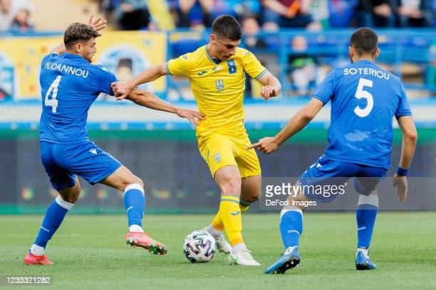 Nicholas Ioannou of Cyprus, Ruslan Malinovskyi of Ukraine and Fanos Katelaris of Cyprus battle for the ball during the international friendly match...