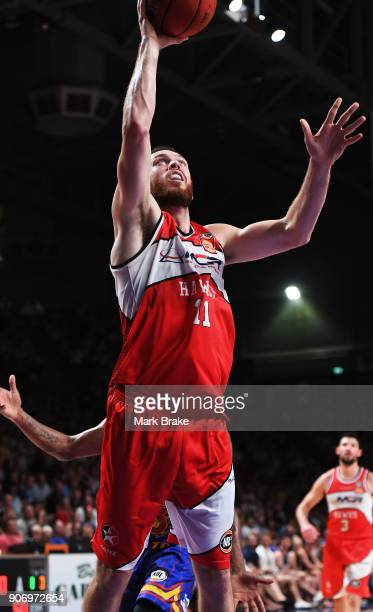 Nicholas Kay of the Illawarra Hawks makes a basket during the round 15 NBL match between the Adelaide 36ers and the Illawarra Hawks at Titanium...