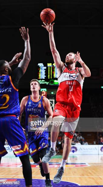 Nicholas Kay of the Illawarra Hawks makes a layup during the round 15 NBL match between the Adelaide 36ers and the Illawarra Hawks at Titanium...