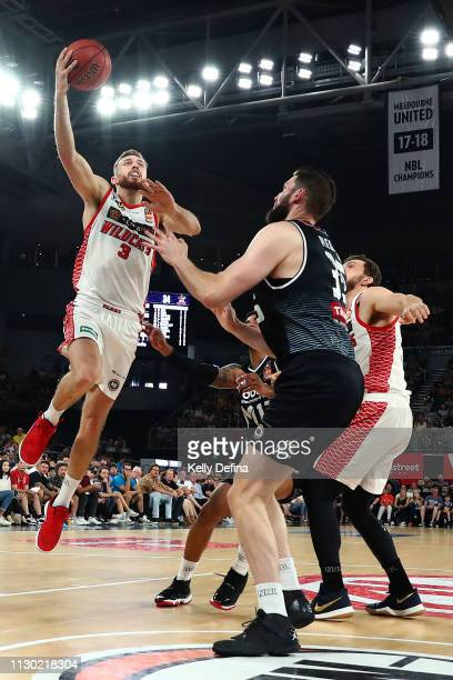 Nicholas Kay of the Wildcats drives to the basket during the round 18 NBL match between Melbourne United and the Perth Wildcats at Hisense Arena on...