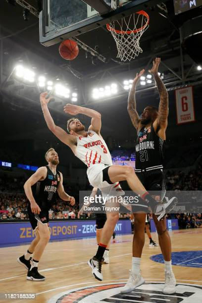 Nicholas Kay of the Wildcats drives to the basket during the round three NBL match between Melbourne United and the Perth Wildcats at Melbourne Arena...