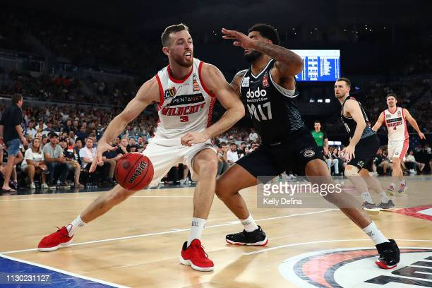 Nicholas Kay of the Wildcats handles the ball under defensive pressure during the round 18 NBL match between Melbourne United and the Perth Wildcats...