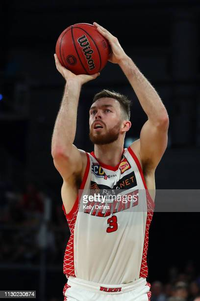 Nicholas Kay of the Wildcats shoots during the round 18 NBL match between Melbourne United and the Perth Wildcats at Hisense Arena on February 17...