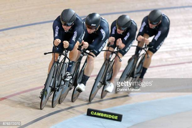 Nicholas Kergozou of New Zealand leads out front of the New Zealand team consisting of Nicholas Kergozou Jared Gray Tom Sexton and Harry Waine in the...