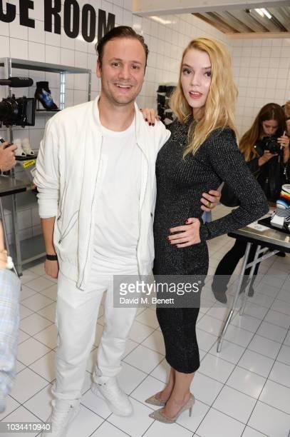 Nicholas Kirkwood and Anya TaylorJoy attend the Nicholas Kirkwood SS19 show during London Fashion Week at Ambika P3 on September 16 2018 in London...