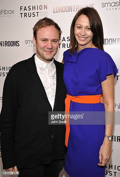 Nicholas Kirkwood and Caroline Rush attend the British Fashion Council's LONDON Show ROOMS LA opening cocktail party at Smashbox Studios on March 12...