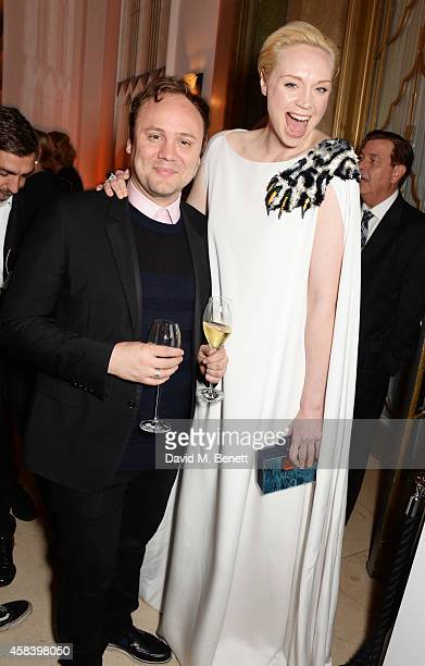 Nicholas Kirkwood and Gwendoline Christie attend the Harper's Bazaar Women Of The Year awards 2014 at Claridge's Hotel on November 4 2014 in London...