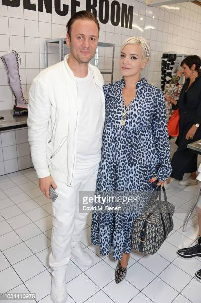 Nicholas Kirkwood and Lily Allen attend the Nicholas Kirkwood SS19 show during London Fashion Week at Ambika P3 on September 16, 2018 in London,...