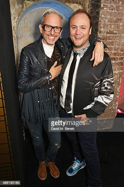 Nicholas Kirkwood and Patrick Cox attends Nicholas Kirkwood 10 year collection Launch and Party during London Fashion Week on September 19 2015 in...