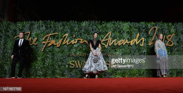 Nicholas Kirkwood and Yasmin Sewell arrive at The Fashion Awards 2018 In Partnership With Swarovski at Royal Albert Hall on December 10 2018 in...