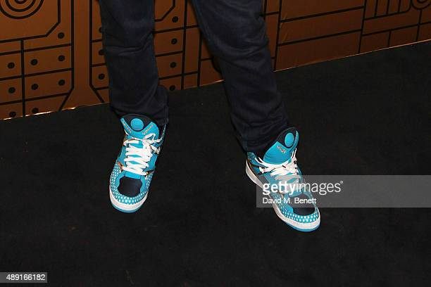 Nicholas Kirkwood shoe detail attends Nicholas Kirkwood 10 year collection Launch and Party during London Fashion Week on September 19 2015 in London...