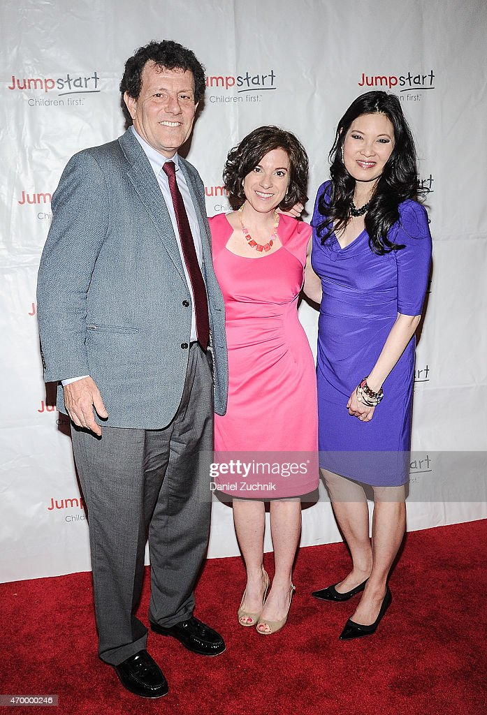 Nicholas Kristof, Naila Bolus and Sheryl WuDunn attend the Scribbles To Novels 10th Anniversary Gala at Pier Sixty at Chelsea Piers on April 16, 2015 in New York City.