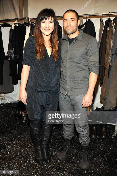 Nicholas Kunz and Christopher Kunz pose backstage at Nicholas K fashion show during Mercedes-Benz Fashion Week Fall 2014 at The Pavilion at Lincoln...