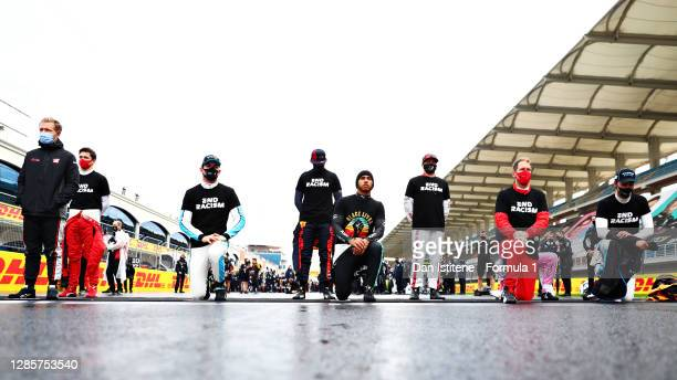 Nicholas Latifi of Canada and Williams, Lewis Hamilton of Great Britain and Mercedes GP, Sebastian Vettel of Germany and Ferrari and George Russell...