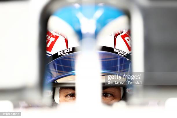 Nicholas Latifi of Canada and Williams prepares to drive in the garage during Day Two of F1 Winter Testing at Circuit de BarcelonaCatalunya on...
