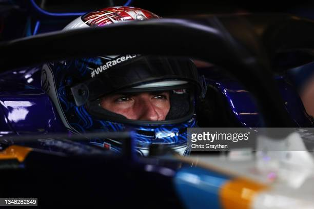 Nicholas Latifi of Canada and Williams prepares to drive in the garage during final practice ahead of the F1 Grand Prix of USA at Circuit of The...