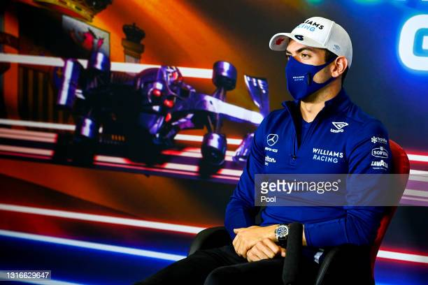 Nicholas Latifi of Canada and Williams talks in the Drivers Press Conference during previews ahead of the F1 Grand Prix of Spain at Circuit de...