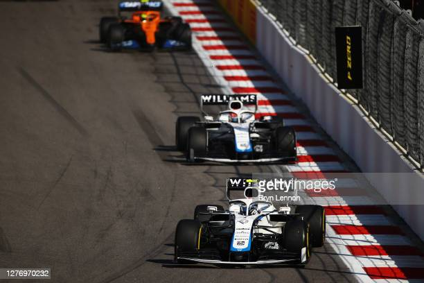 Nicholas Latifi of Canada driving the Williams Racing FW43 Mercedes leads George Russell of Great Britain driving the Williams Racing FW43 Mercedes...