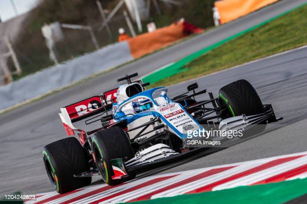 Nicholas Latifi participates in the tests for the new season of the Formula One Grand Prix at the Circuit de Catalunya in Montmelo