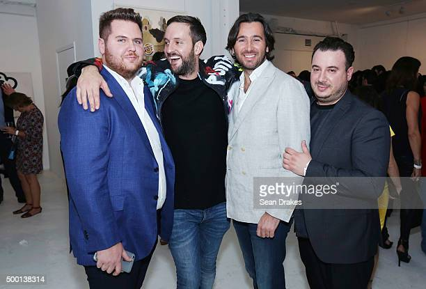 Nicholas Laws artist Ben Levy Tony Knightly and Richard Santoro attend the Artceleration Event at Macaya Gallery during Art Basel Miami Beach on...