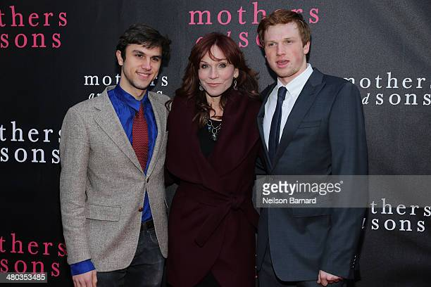 Nicholas Lieberman Marilu Henner and Joseph Lieberman attend the Broadway opening night of Mothers and Sons at The Golden Theatre on March 24 2014 in...