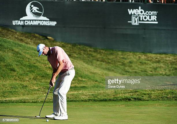 Nicholas Lindheim hits a putt on the 18th hole during the final round of the Utah Championship Presented by Zions Bank at Thanksgiving Point on July...