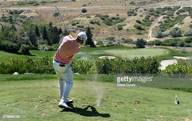 Nicholas Lindheim hits his drive on the fourth hole during the final round of the Utah Championship Presented by Zions Bank at Thanksgiving Point on...