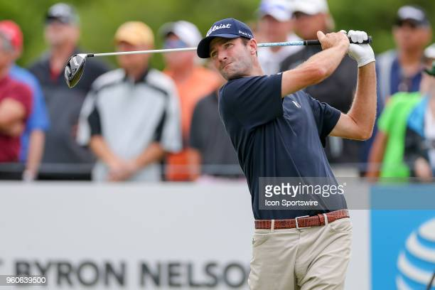 Nicholas Lindheim hits his tee shot on during the final round of the 50th annual ATT Byron Nelson on May 20 2018 at Trinity Forest Golf Club in...