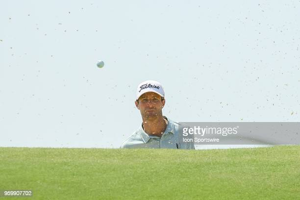 Nicholas Lindheim hits out of the fairway bunker on during the second round of the 50th anniversary AT&T Byron Nelson on May 18, 2018 at Trinity...