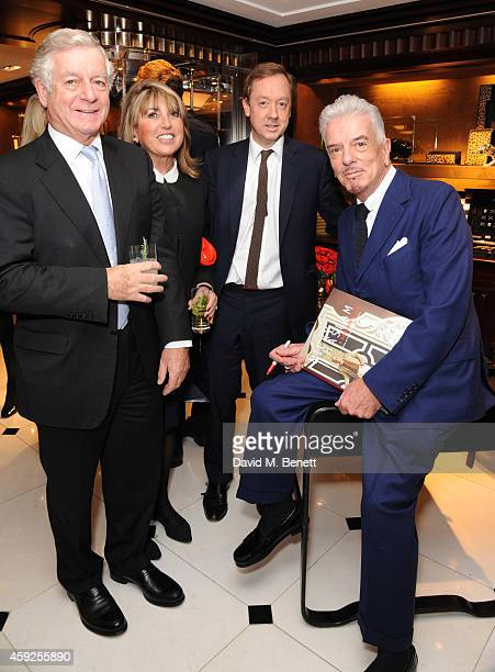 """Nicholas Lloyd, Eve Pollard, Geordie Greig and Nicky Haslam attend the launch of Nicky Haslam's new book """"A Designer's Life"""" at Ralph Lauren on..."""