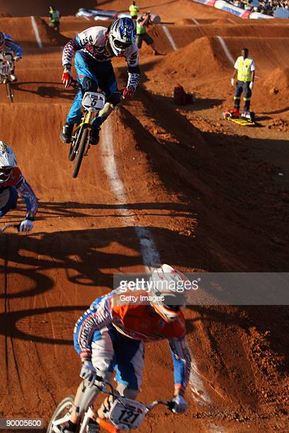 Nicholas Long chases Raymon van der Biezen on day two of the UCI BMX Supercross World Cup at the Royal Show Grounds on August 22, 2009 in...