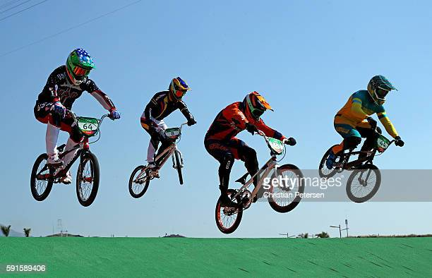 Nicholas Long of the United States Carlos Alberto Ramirez Yepes of Colombia Twan van Gendt of the Netherlands and Anthony Dean of Australia practice...