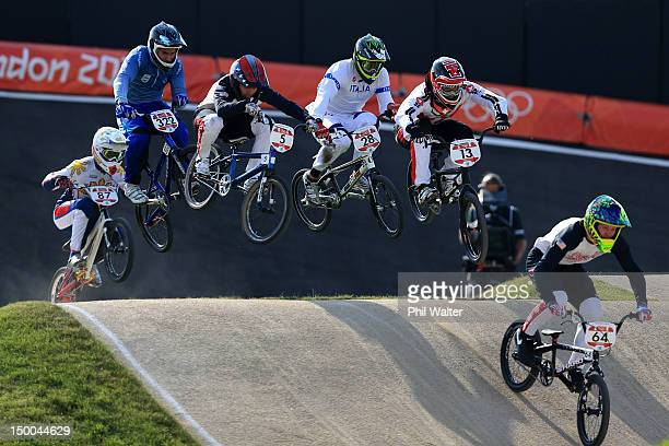 Nicholas Long of the United States leads the field down a jump during the Men's BMX Cycling Quarter Finals on Day 13 of the London 2012 Olympic Games...