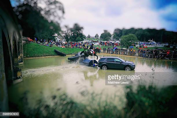 Nicholas Lucy of Great Britan riding Proud Courage jumps over Lion Bridge during the Cross Country during The Land Rover Burghley Horse Trials 2016...