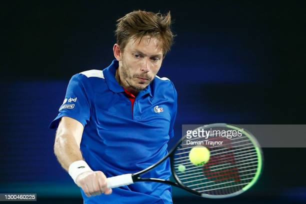 Nicholas Mahut of France plays in his group C singles match against Dennis Novak of Austria during day four of the 2021 ATP Cup at Rod Laver Arena on...