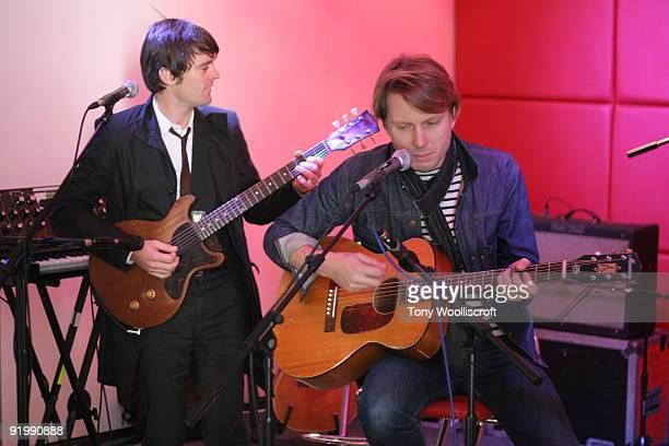 Nicholas McCarthy and Alex Kapranos of Franz Fredinand perform an acoustic gig for Kerrang Radio on October 19 2009 in Birmingham England