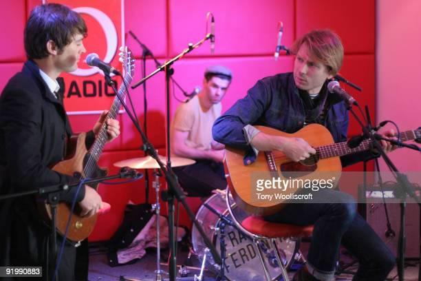 Nicholas McCarthy Paul Thompson and Alex Kapranos of Franz Fredinand perform an acoustic gig for Kerrang Radio on October 19 2009 in Birmingham...