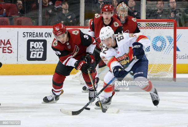 Nicholas Merkley of the Arizona Coyotes and Denis Malgin of the Florida Panthers battle for the puck during the second period at Gila River Arena on...