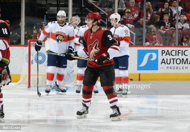 Nicholas Merkley of the Arizona Coyotes skates during the first period against the Florida Panthers at Gila River Arena on December 19 2017 in...