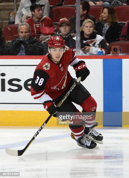 Nicholas Merkley of the Arizona Coyotes skates up ice against the Florida Panthers at Gila River Arena on December 19 2017 in Glendale Arizona...