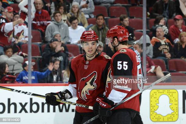 Nicholas Merkley of the Arizona Coyotes talks with teammate Jason Demers during a stop in play against the Florida Panthers at Gila River Arena on...