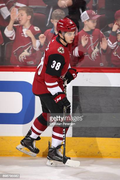 Nicholas Merkley of the Arizona Coyotes warms up before the NHL game against the Washington Capitals at Gila River Arena on December 22 2017 in...