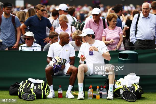 Nicholas Monroe of the United States and JohnPatrick Smith Australia react against Ben McLachlan of Japan and JanLennard Struff of Germany during...