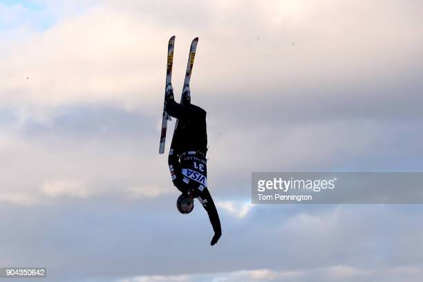 Nicholas Novak of the United States takes a practice jump before the Men's Aerials qualifying during the 2018 FIS Freestyle Ski World Cup at Deer...